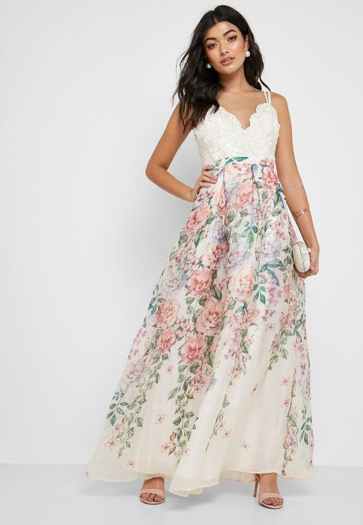 Lace Scallop Top Floral Print Skirt Dress bc2ac165b2