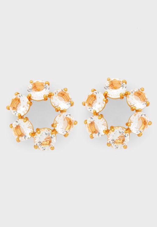 6 Crystal Stones Hoop Earrings