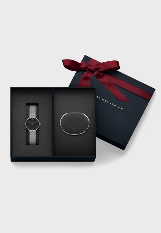Sterling Analog Watch + Cuff Bracelet Gift Set