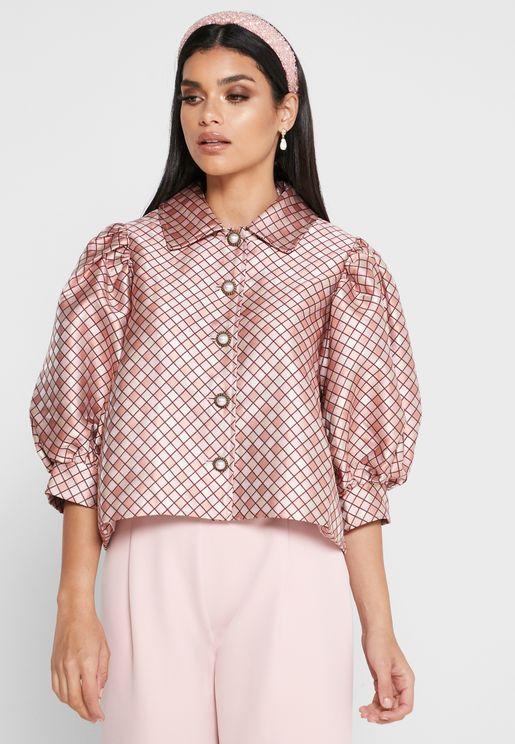 قميص مطبع باكمام منفوشه