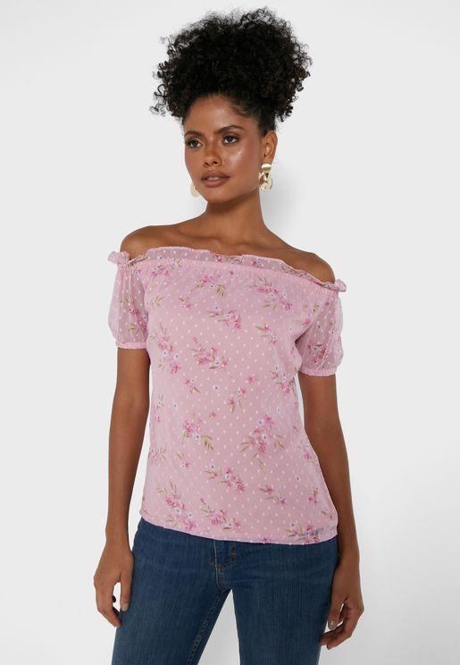 Pink Ditsy Floral Bardot Top