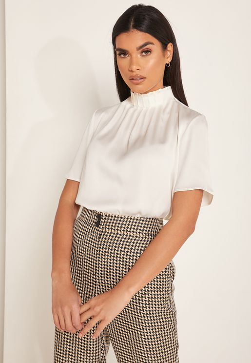 Luniaa High Neck Pleated Top