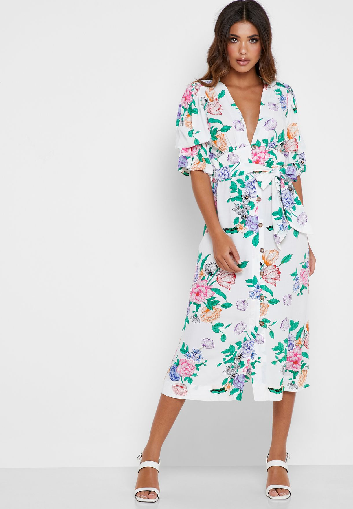 Tie Waist Tropical Print Dress