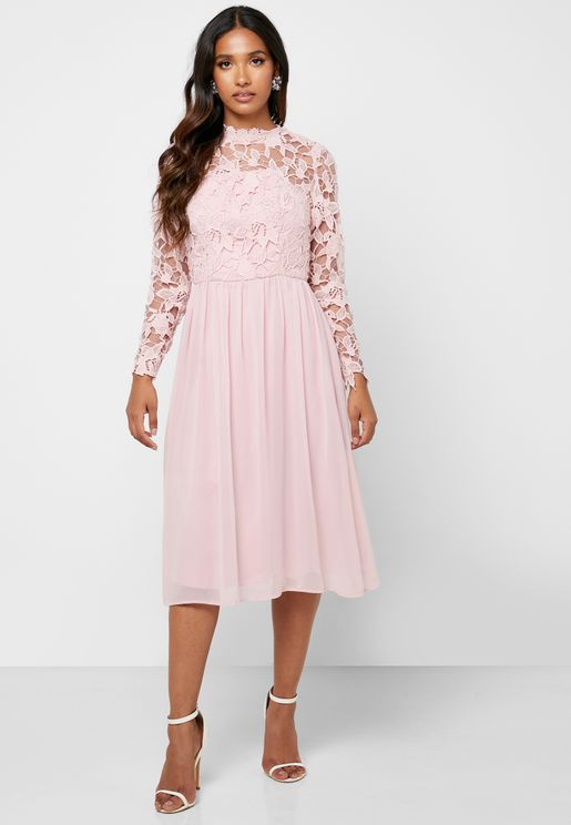 High Neck Lace Detail Dress
