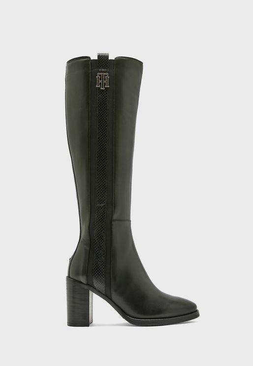 Interlock High Heel Knee Boot