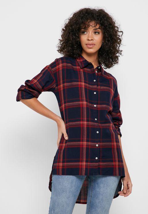 قميص طويل بطبعة مربعات