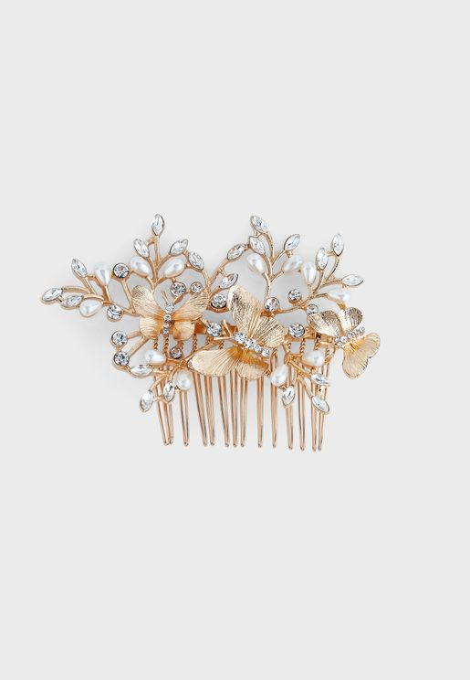 Pearl And Diamante Butterfly Hair Slide