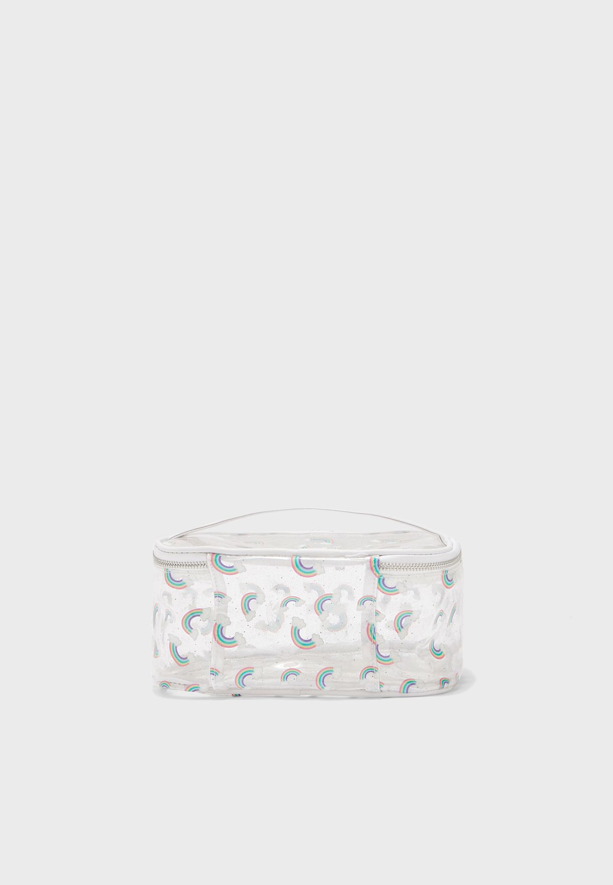 Clear Glitter With Rainbow Cosmetic Bag