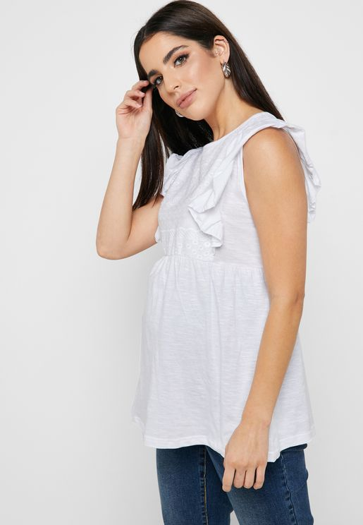 Broderie Frill Sleeve Top