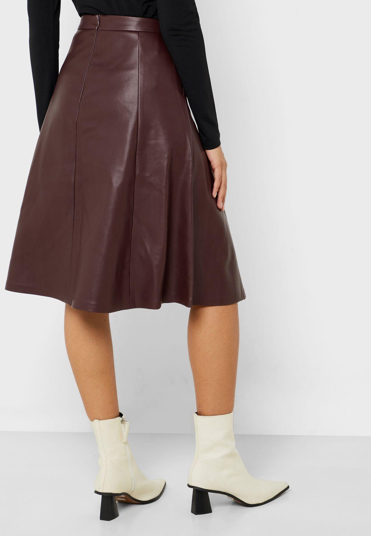 High Waist PU Skirt