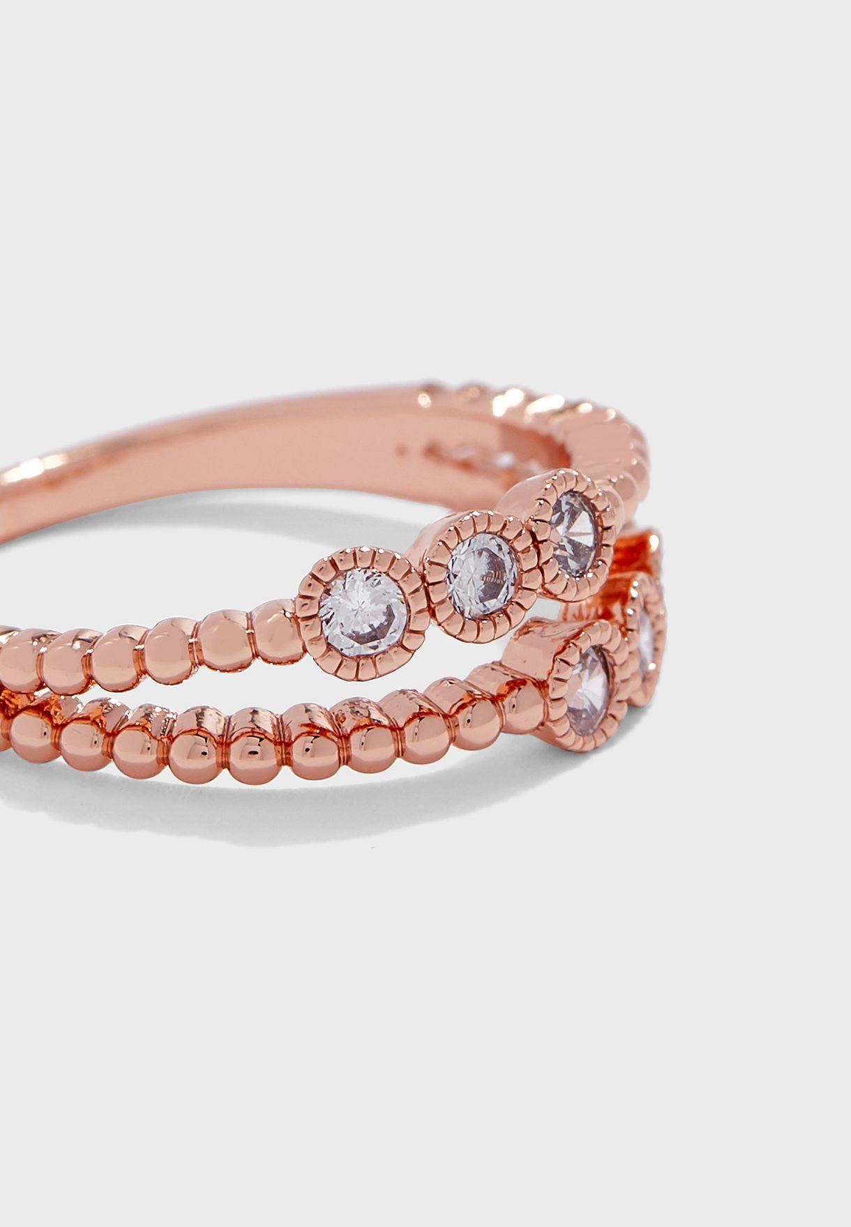 Beaded Crystal Single Ring