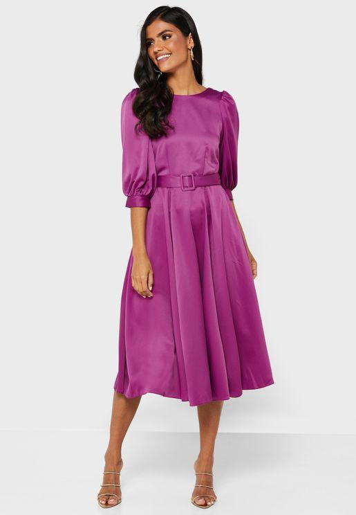 Zip Detail Puff Sleeve Dress