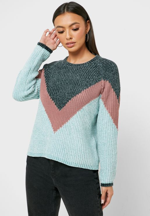 Colorblock Chevron Sweater