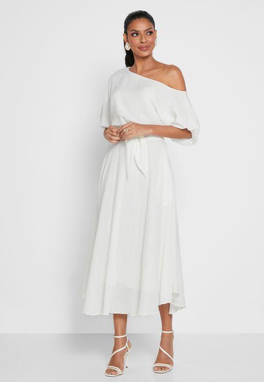 Pocket Detail One Shoulder Dress