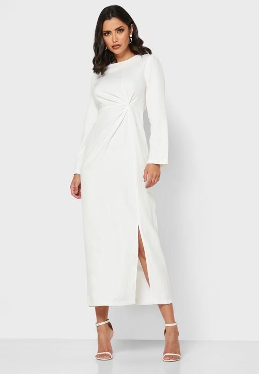 Twisted Front Midi Dress