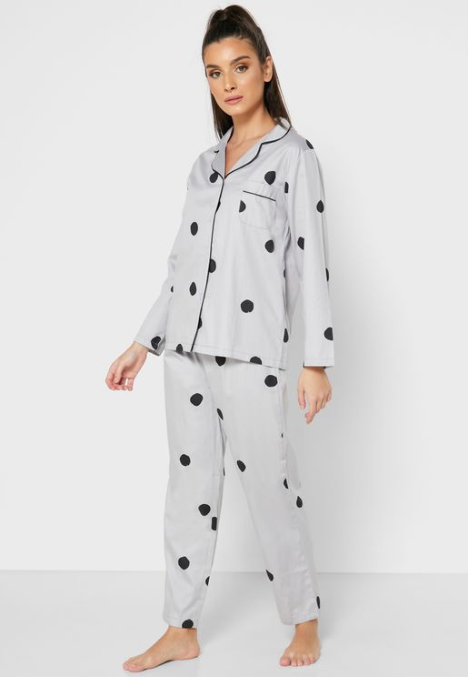Polka Dot Shirt Pyjama Set