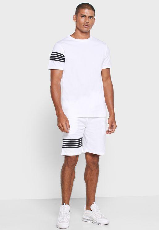 Stripe Detail T Shirt & Short Set