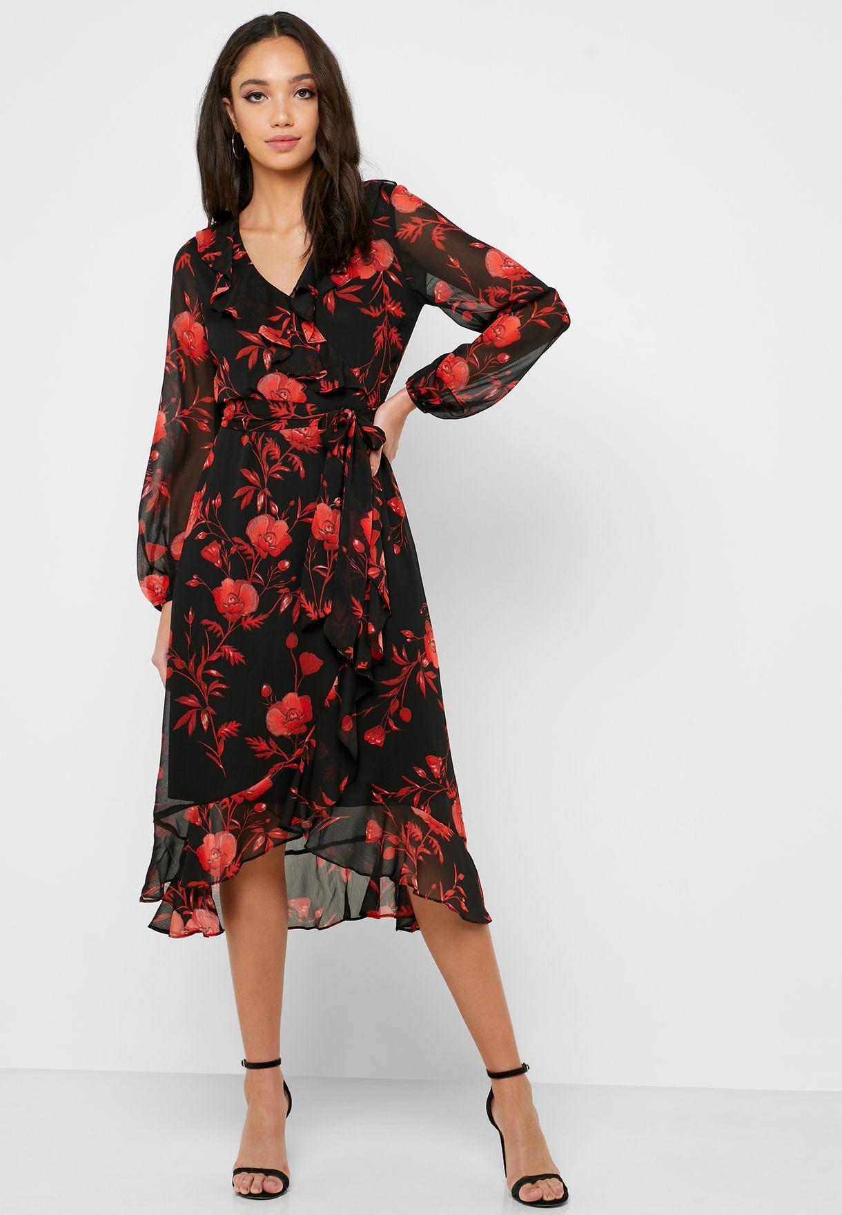 Tie Neck Front Split Floral Print Dress