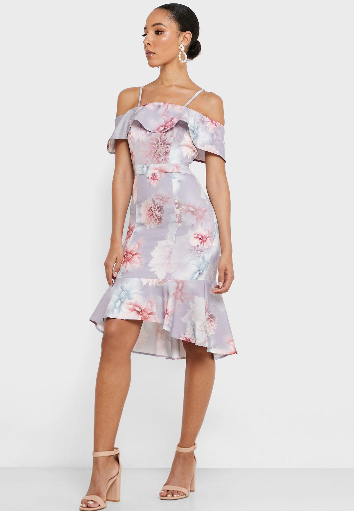 Ruffle Detail Printed Bodycon Dress