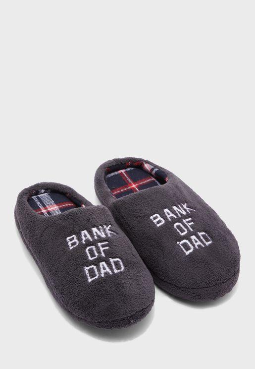 Mens Bank Of Dad Mule Bedroom Slippers