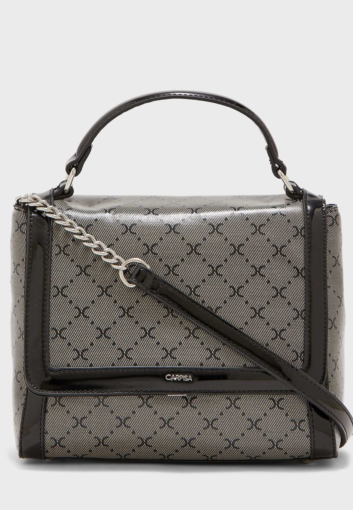 Squin Flap Over Chain Detail Crossbody