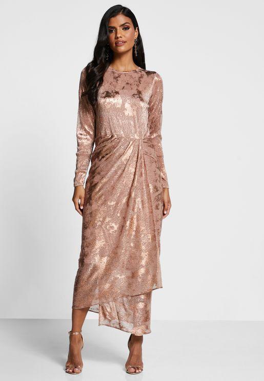 Digital Print Pleated Dress