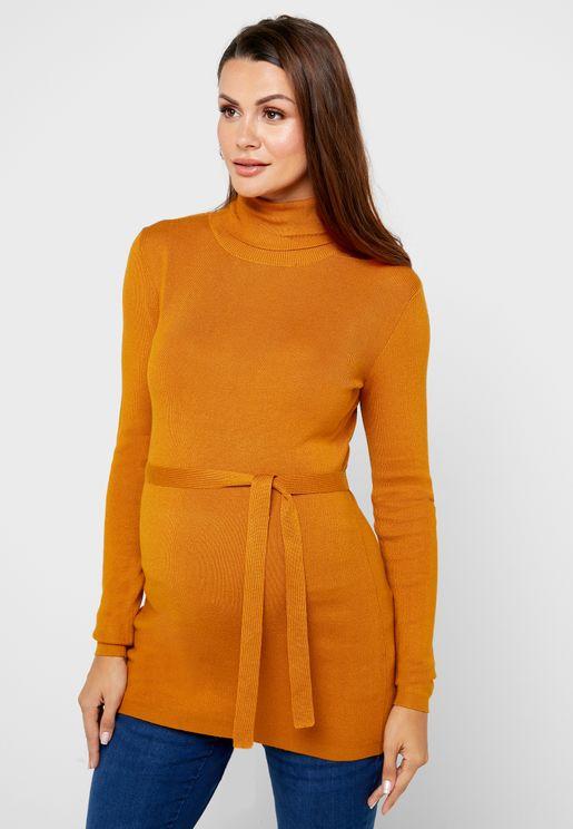 High Neck Tie Waist Sweater