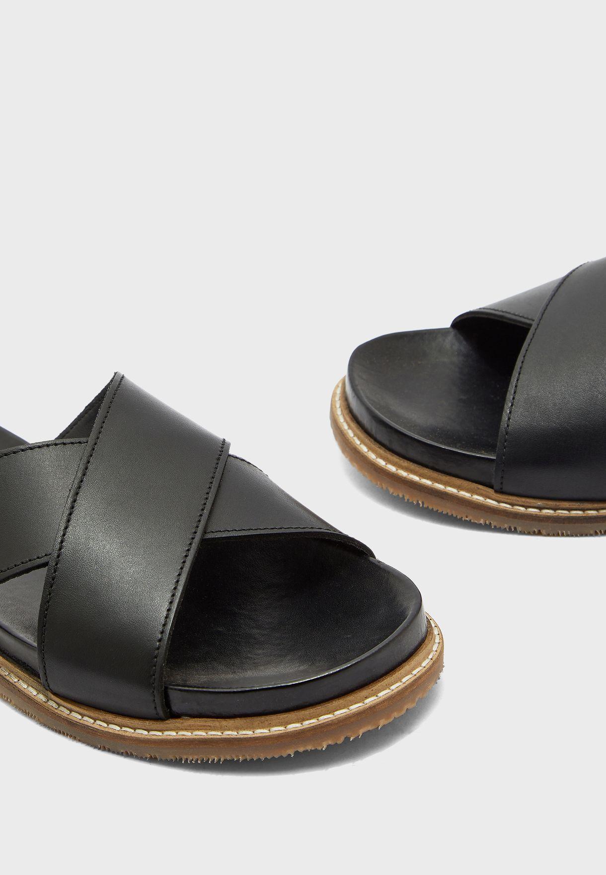 Rea-N Cross Strap Slip On Sandals