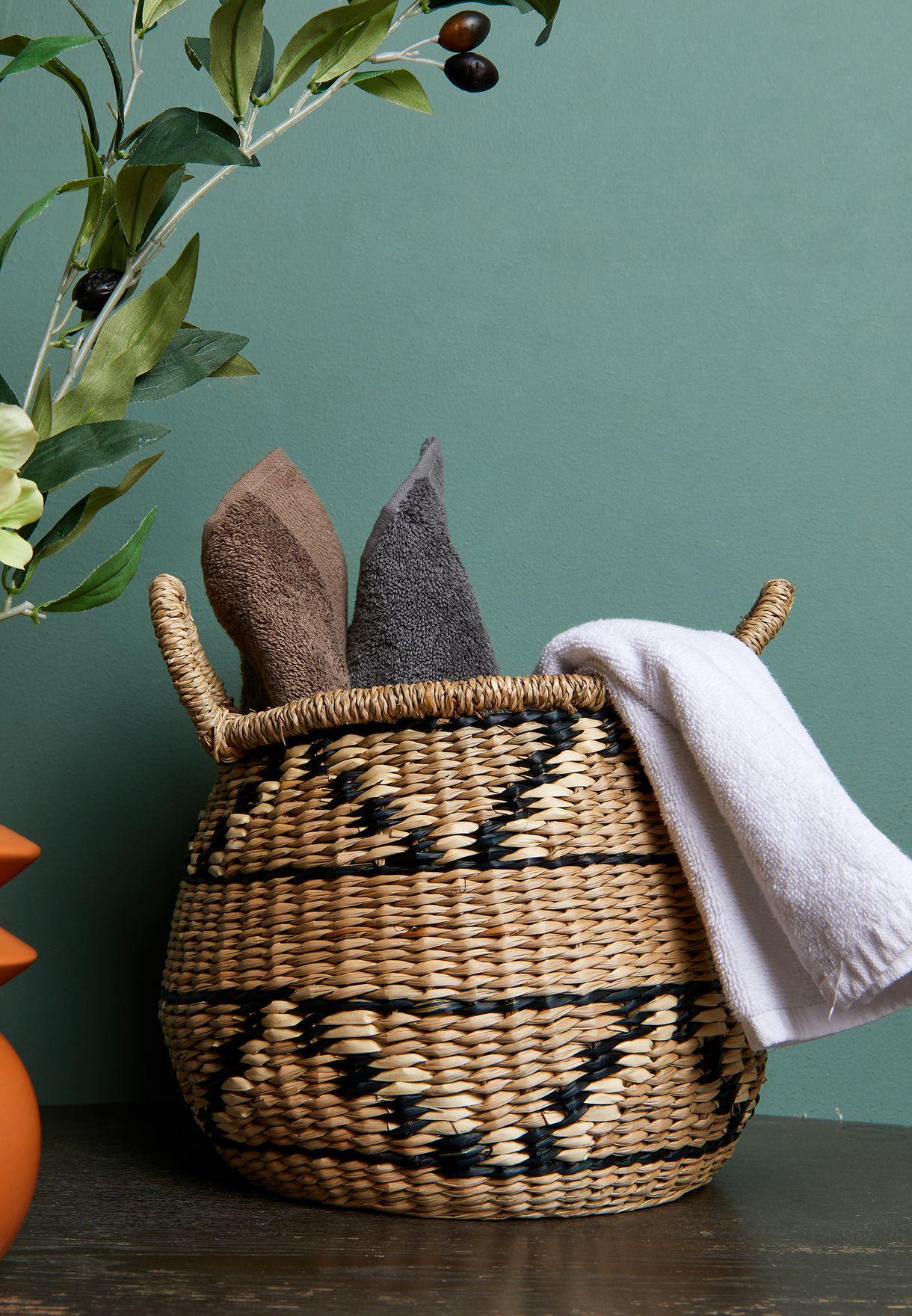 Small Seagrass Round Geometric Basket