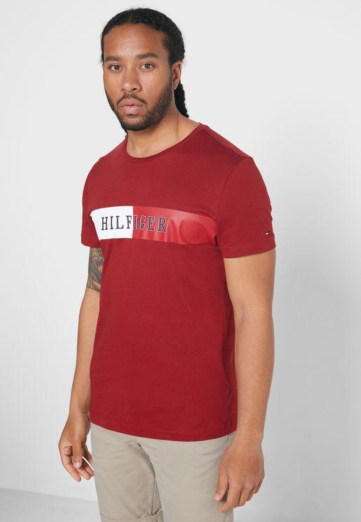 Block Stripe Logo Crew Neck T-Shirt
