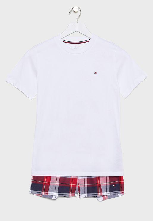 Teen Checked Shorts Set