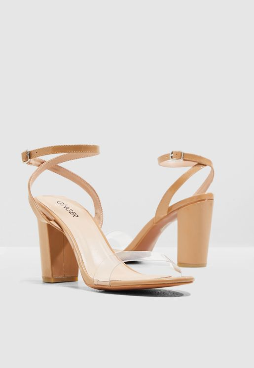 9a50041229d Block Heel Barely There Sandal With Clear Strap