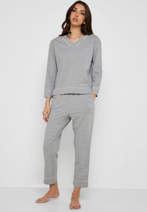 Contrast Piping Fleece Pyjama Set