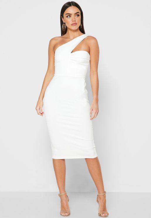 Pleat Detail One Shoulder Dress