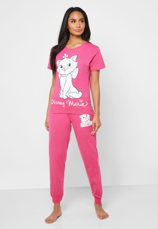 Graphic Polka Dot T-Shirt & Pyjama Set
