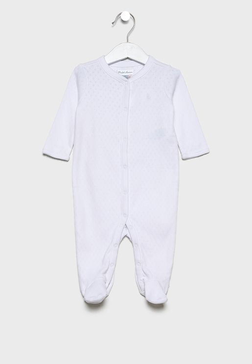 Infant Button Down Logo Romper