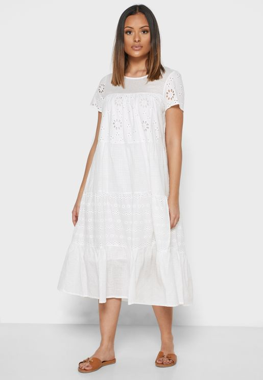 Schiffli Tiered Midi Dress