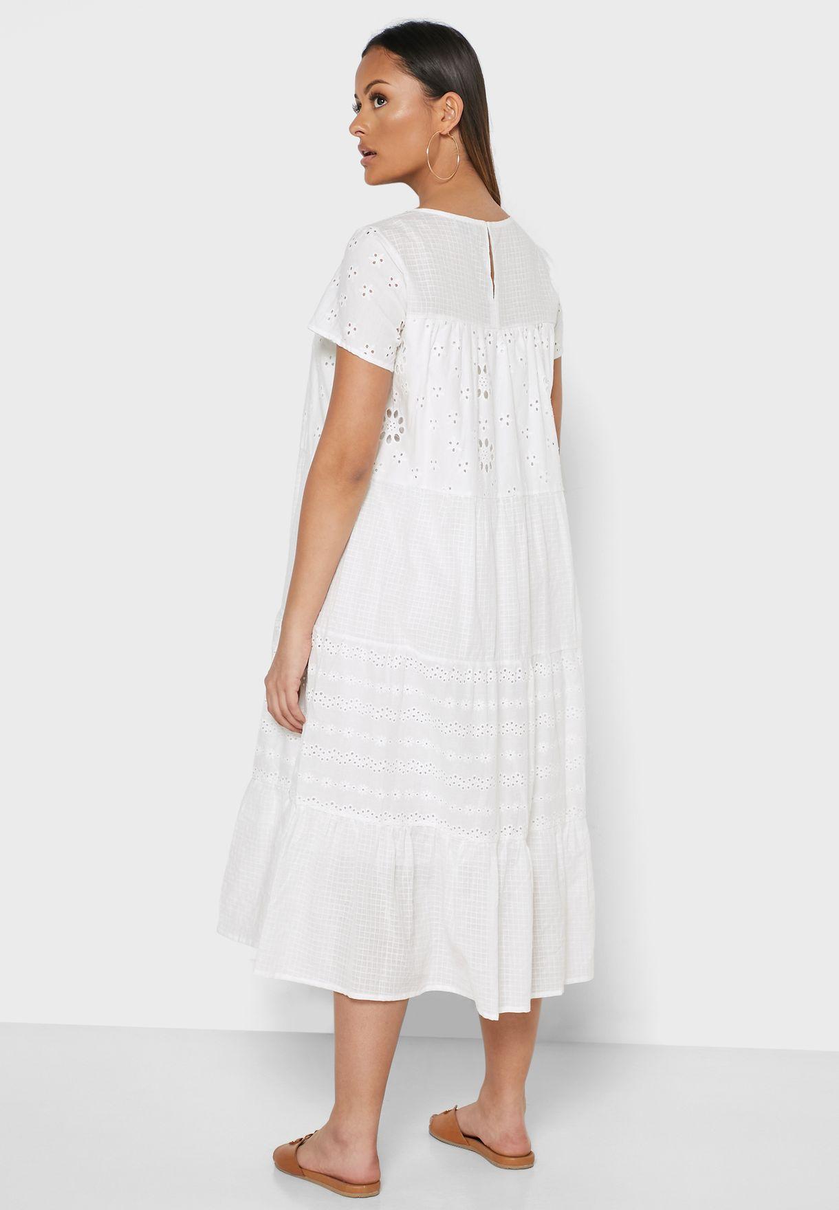 Schiffli Tiered Midi Dress