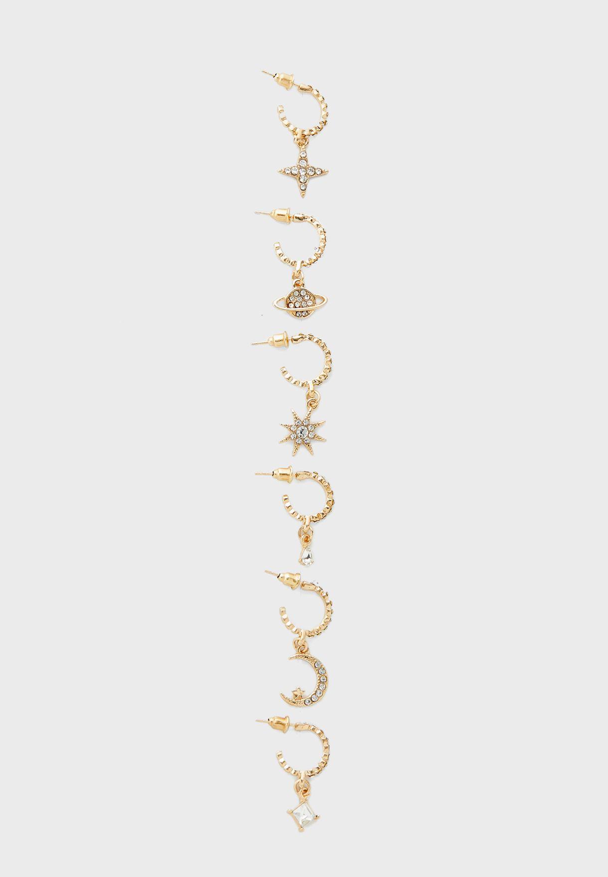 Pack Of 3 Moon And Star Hoop Earrings