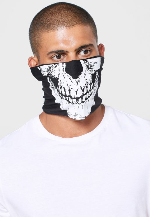 Skull Print Scarf Face Mask