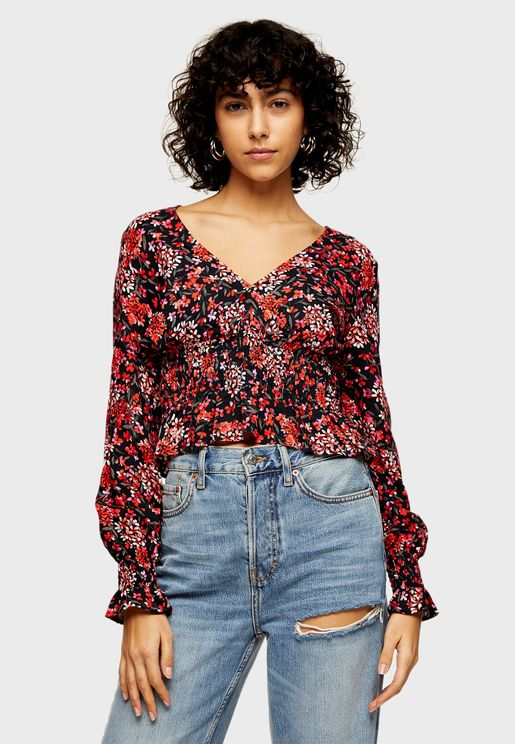 Ruched Print Blouse