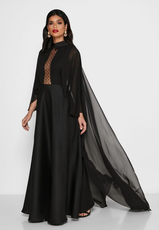 Plunge Illusion Cape Sleeve Dress