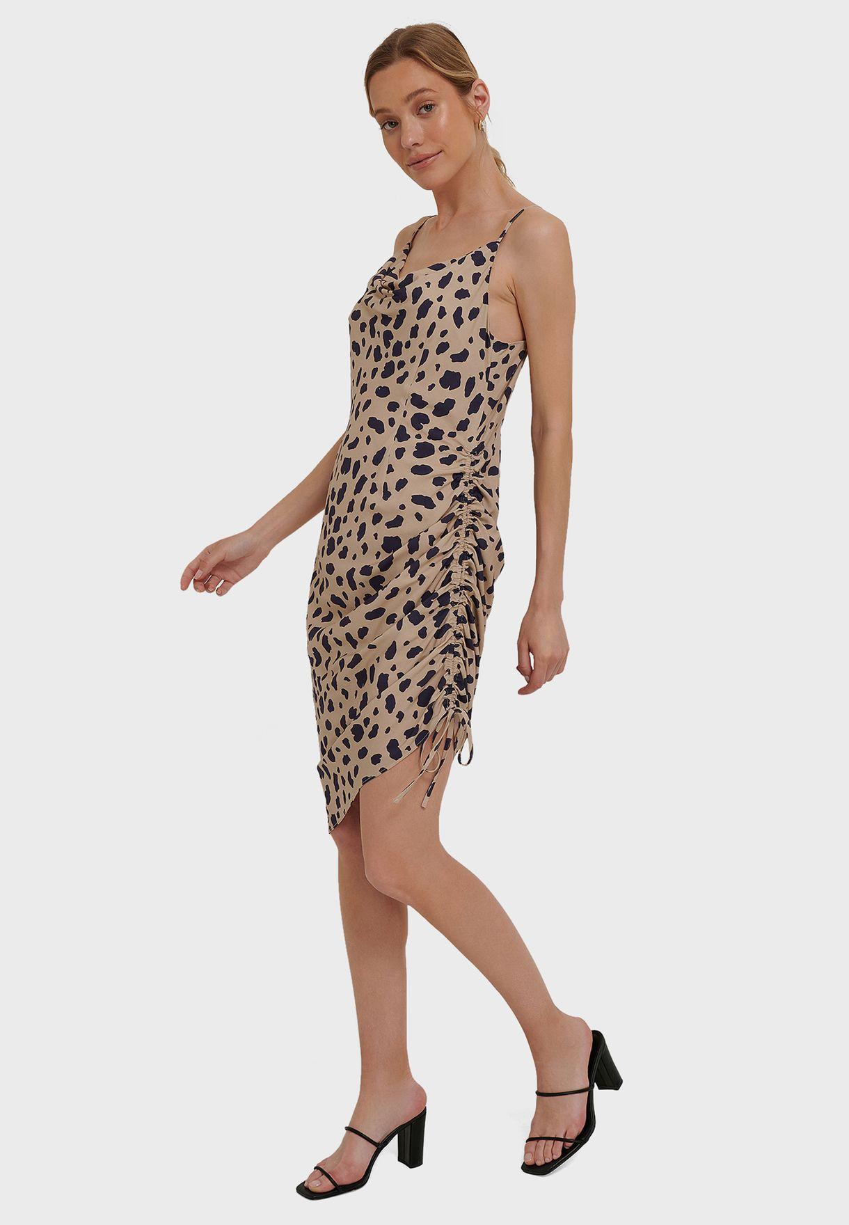 Draped High Slit Midi Dress