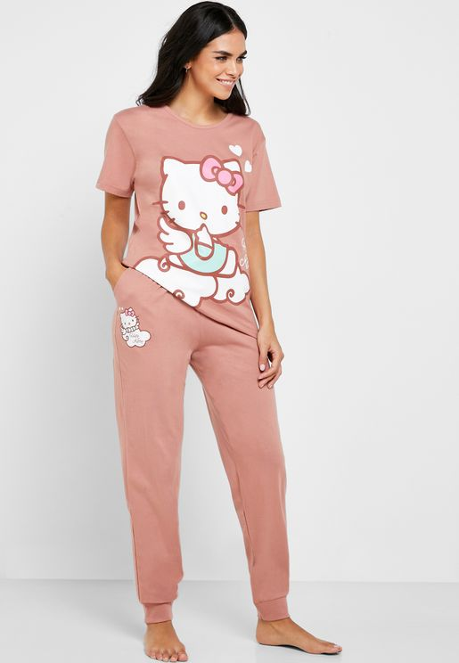 Hello Kitty Graphic T-Shirt & Pyjama Set