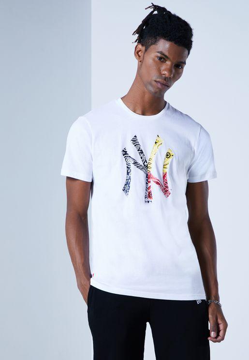 New York Yankees Paisley Printed T-Shirt