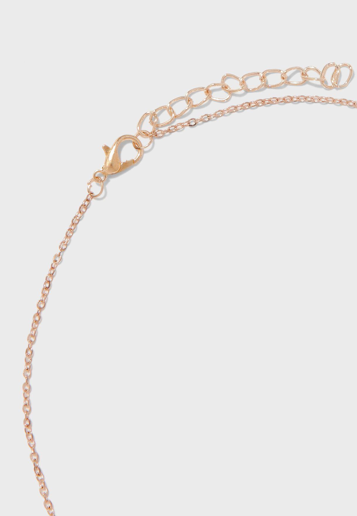Double Circle Stone Fine Necklace