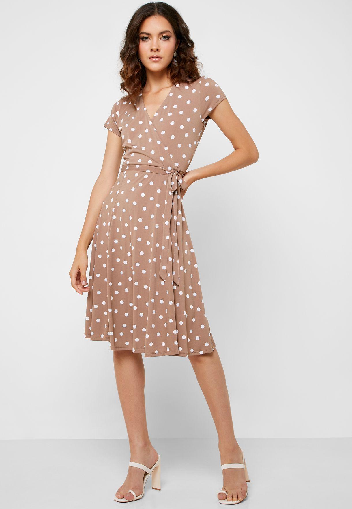 Spot Print Wrap Dress