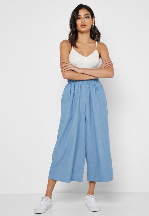 Wide Leg Denim Cropped Pants