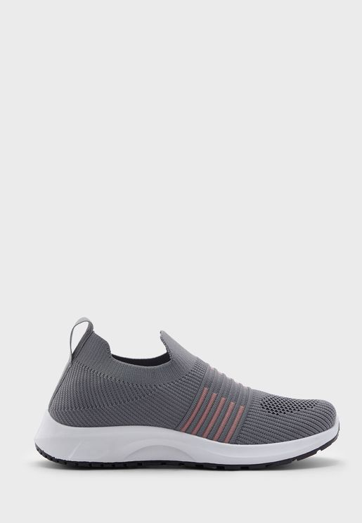 Stripe Knit Pull On Comfort Sneakers