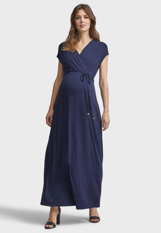 V-Neck Side Tie Wrap Dress
